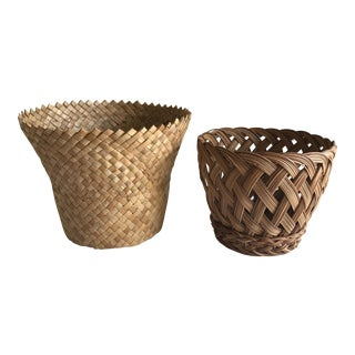 Boho Woven Plant Baskets - A Pair