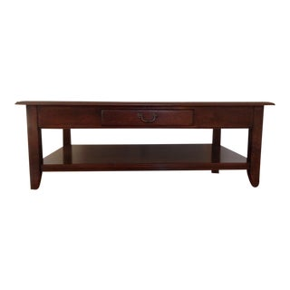 Contemporary Ethan Allen Carved Mahogany Coffee Table