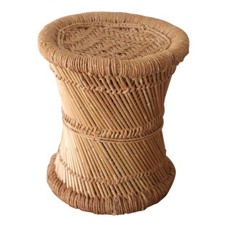Boho Rattan Side Table with Woven Rope