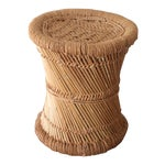 Image of Boho Rattan Side Table with Woven Rope