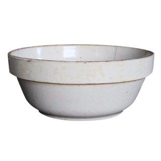 Antique Large White Stoneware Earthenware Farmhouse Round Chippy Bowl
