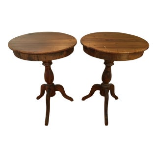 Vintage Pine Side Tables - A Pair
