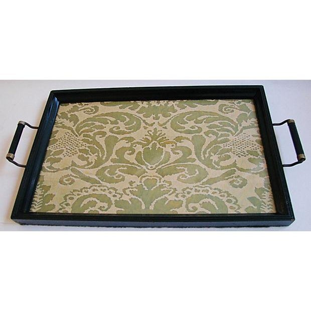1930s Cocktail Serving Tray W/ Fortuny Fabric - Image 4 of 8