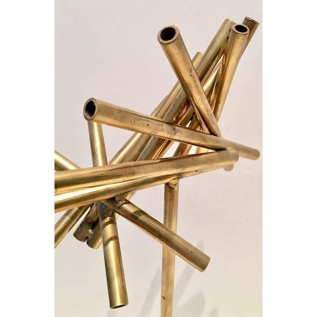 Modern Brass & Marble Abstract Tubular Sticks Sculpture - Image 9 of 9
