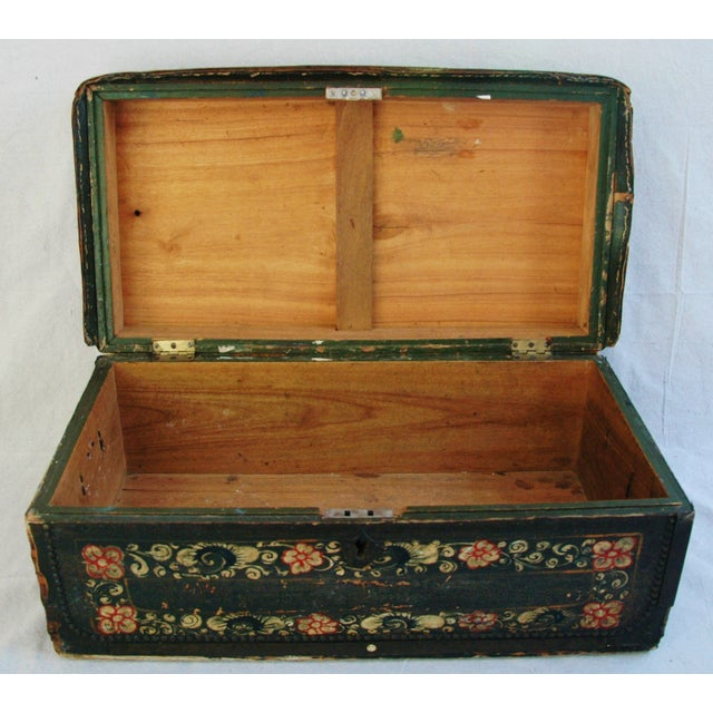 French 19th C. Hand Painted Leather Trunk - Image 7 of 10