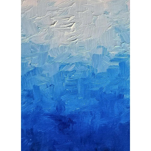 Modern Blue Impasto Textured Oil Painting - Image 1 of 5