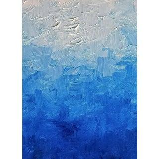 Modern Blue Impasto Textured Oil Painting