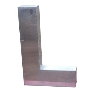 "Antique Industrial Stainless Steel Metal Letter ""L"""