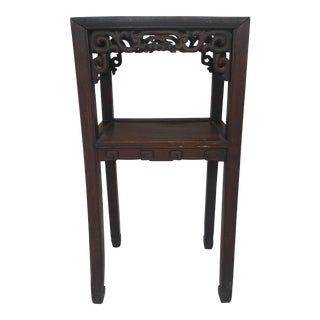 Carved Wooden Marble Top Two-Tiered Accent Table