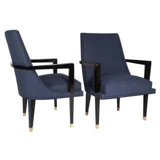 PAIR OF EBONIZED-WOOD AND BRASS ARMCHAIRS BY ROBERTO AND MITO BLOCK, CIRCA 1950S