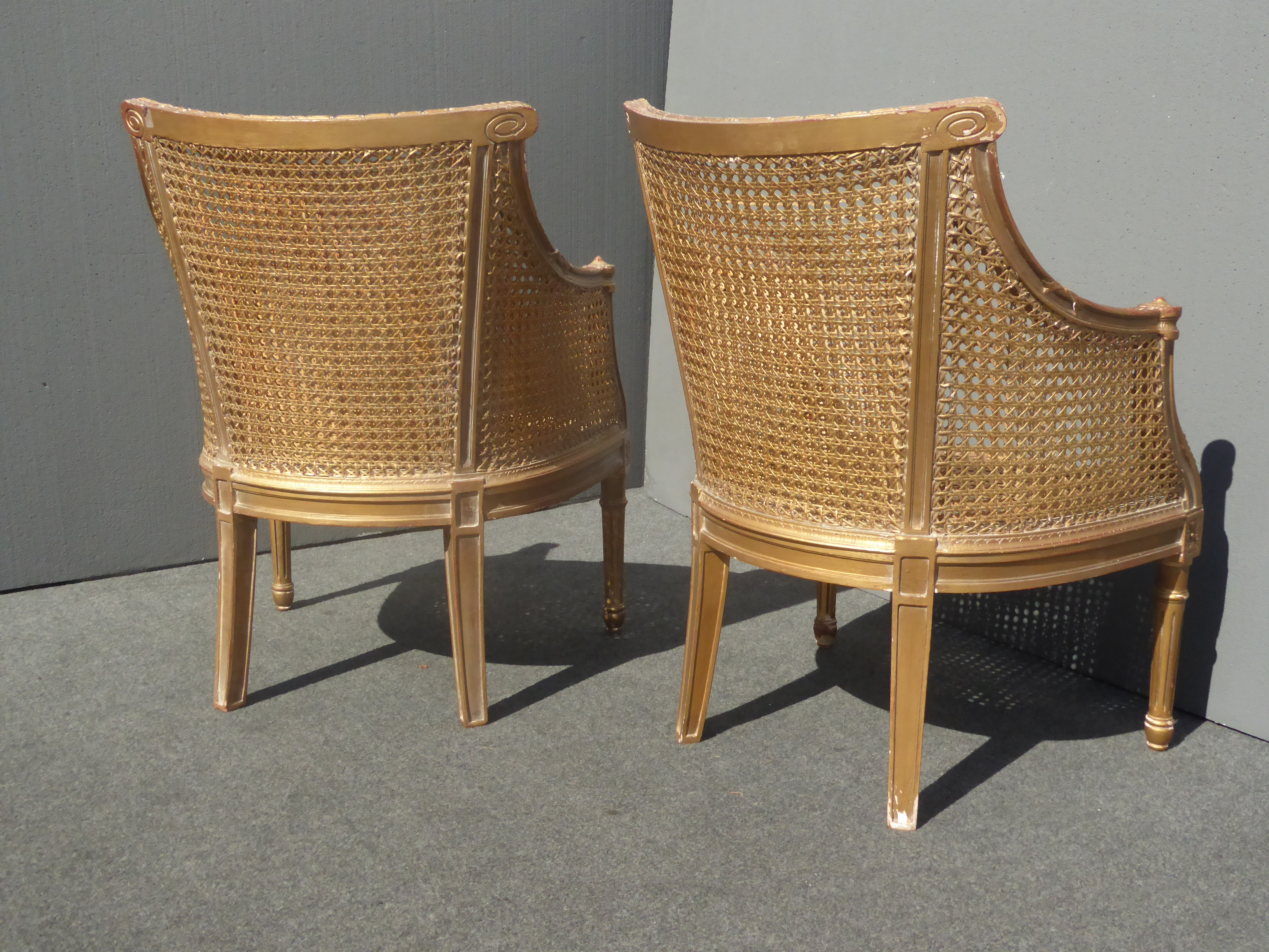 French Cane Chair french rococo gold cane chairs - a pair | chairish