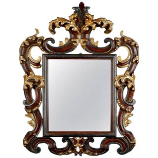 Italian Wood Gilt & Painted Mirror