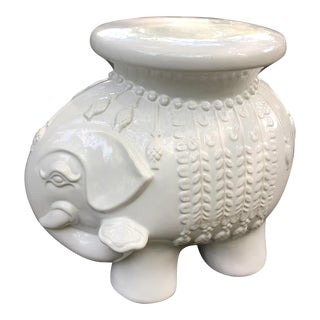 Ceramic White Elephant Side Table