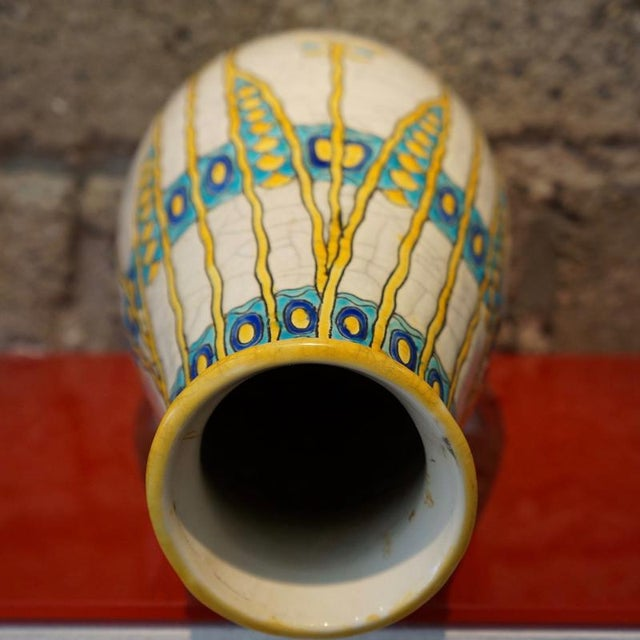 Charles Catteau Three Color Patterned Vase - Image 6 of 7
