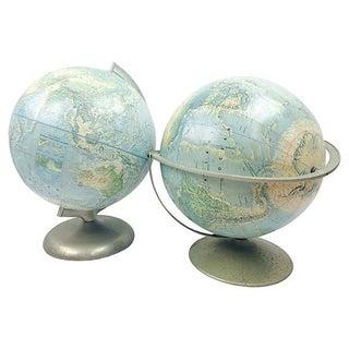 Terrestrial Globes on Metal Stands - Pair