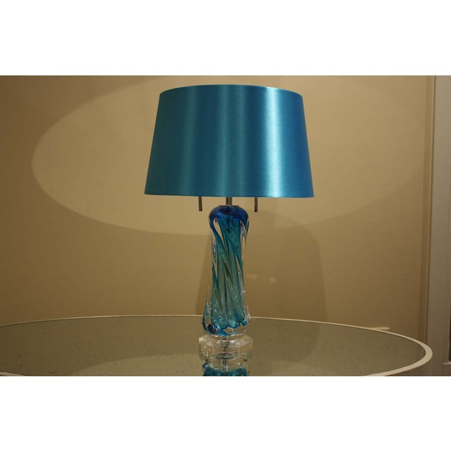 Image of Turquoise Blue Glass Lamp With Shade
