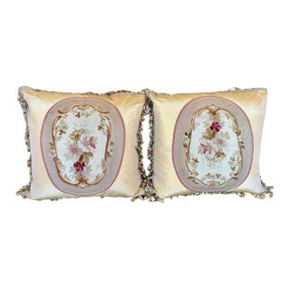 Antique Aubusson Tassel Trim Textile Tapestry Pillows - a Pair by Villa Melrose