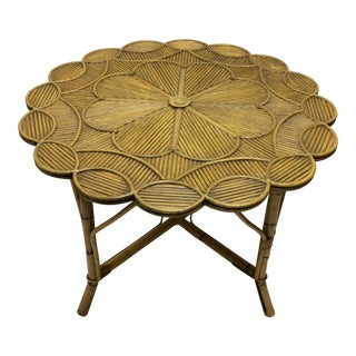 Boho Chic Design Teak & Bamboo Chinoserie Table with Scallop Edge