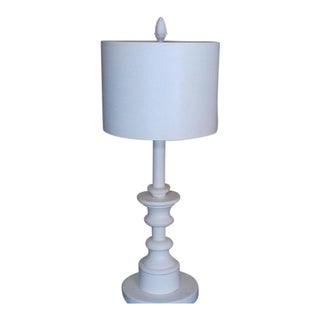 White Fluted Table Lamp w/ Drum Shade