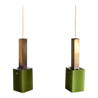 Pair of Brass and Green Glass Pendants, 1950s