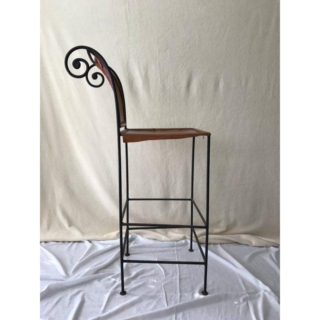Scrolled Iron & Leather Bar Stools - Set of 3 - Image 9 of 11