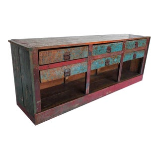 Antique Painted Shop Counter