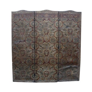 1897 Victorian Embossed Leather Screen Divider