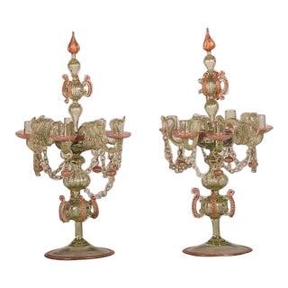 Rococo Period Pair Venetian Glass Candelabra, Italy c.1740
