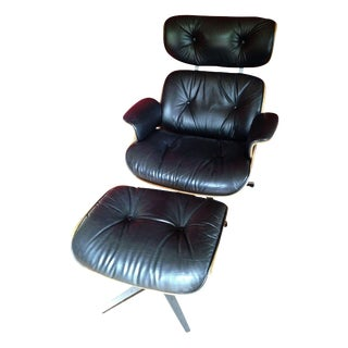 Plycraft Black Leather Chair Designed by Lou App