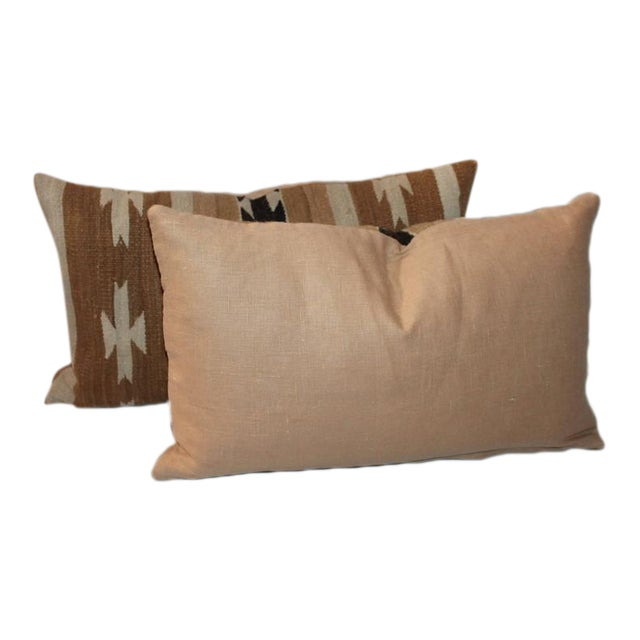 Pair of Chinle Navajo Indian Weaving Bolster Pillows - Image 1 of 5