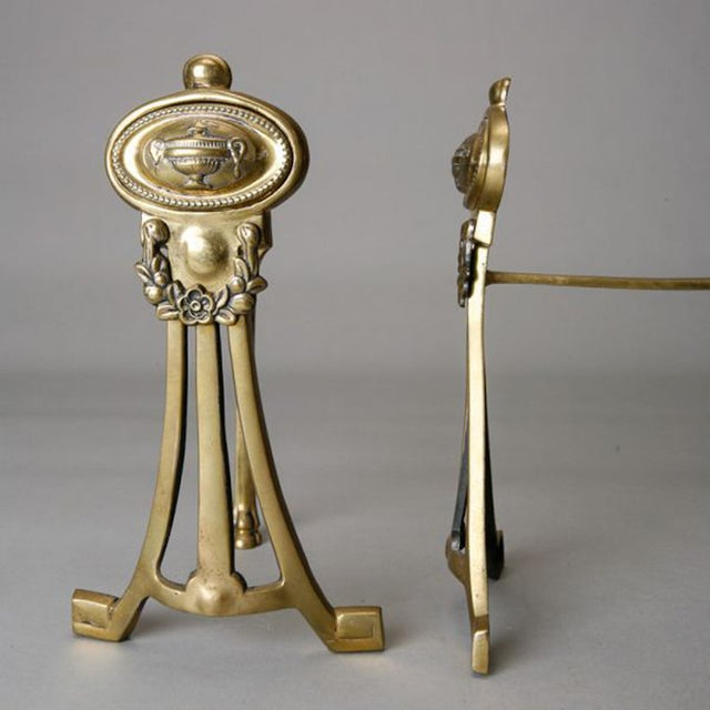 English Small Brass Andirons- A Pair - Image 6 of 6
