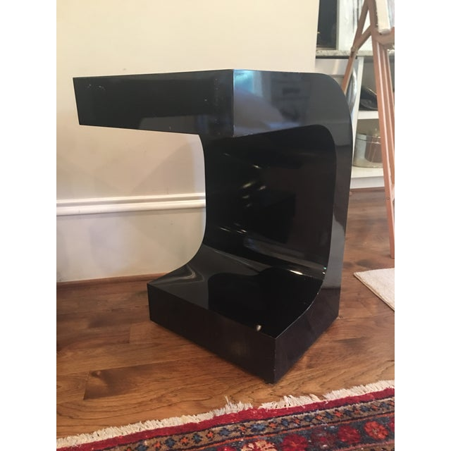 Vintage Lacquered Black Fitted Side Tables - A Pair - Image 9 of 11