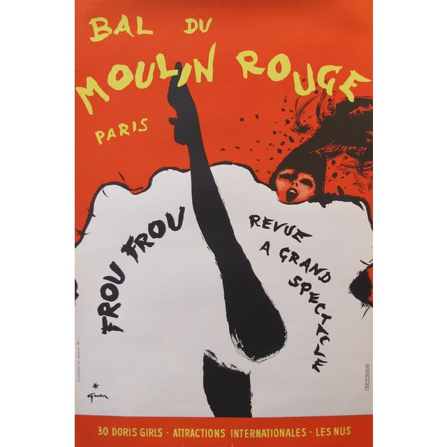 Vintage 1960s Moulin Rouge Poster by Rene Gruau - Image 1 of 2