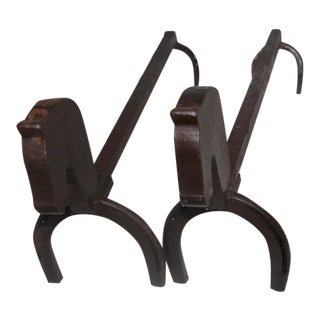 Early 20th Century Iron Horse Shoe and Horse Head Andirons