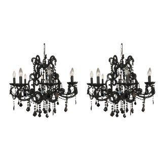 Black Crystal Chandeliers - a Pair