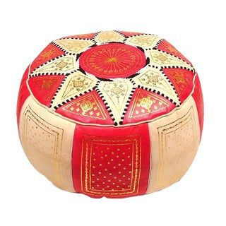 Fes Red Leather Pouf