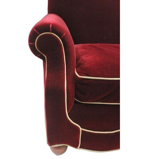 Image of Burgundy Velvet Tuxedo Club Chairs - A Pair