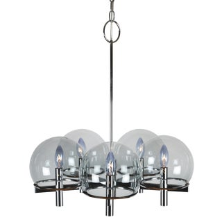 GAETANO SCIOLARI CHROME CHANDELIER WITH FIVE SMOKED-GLASS GLOBES, CIRCA 1970S