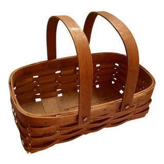 Mid-Century Splint Oak Gathering Basket