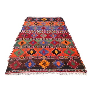"Vintage Turkish Kilim Rug - 6'3"" X 11'2"""