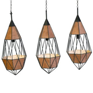 Modern Wire and Leather Pendants - Set of 3