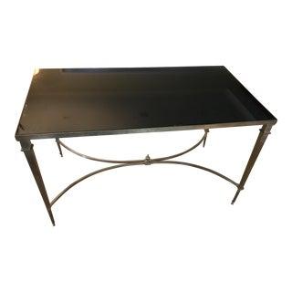 Antibes French Art Deco Regency Style Brass Black Granite Coffee Table