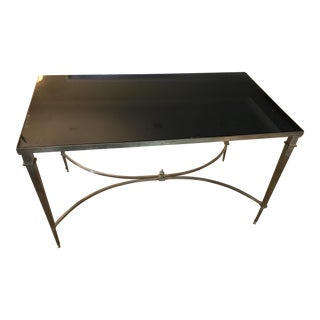 Antibes French Art Deco Regency Style Brass Black Granite Coffee Table