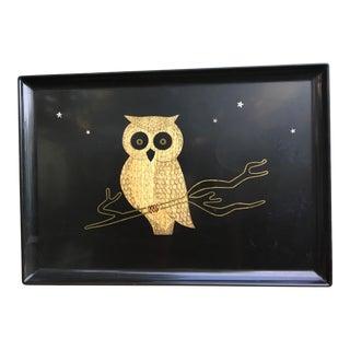 Vintage Mid-Century Modern Resin Couroc Owl Tray