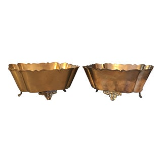 Vintage Brass Scalloped Planters - A Pair