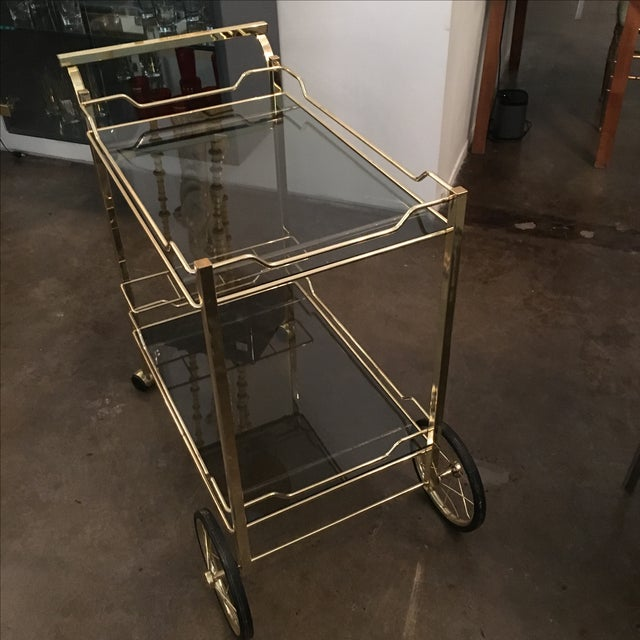 Brass with Smoke Glass Bar Cart - Image 4 of 7