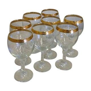 Vintage Tiffin Style Wine Glasses - Set of 8