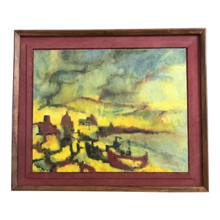 Mid-Century Abstract Seascape Painting Signed Bigelow