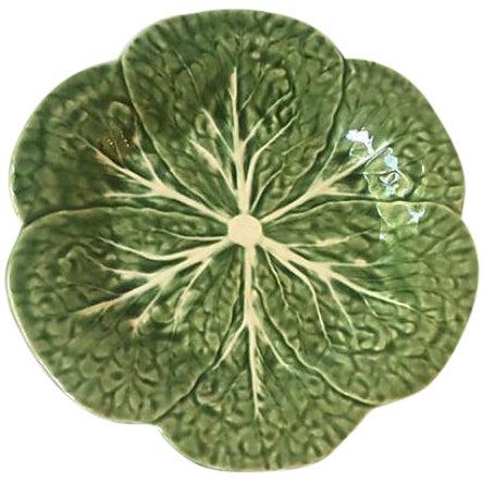 Vintage Green Cabbage Leaf Serving Plate - Image 1 of 5