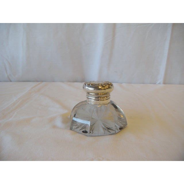 Image of Antique 1890 Cut Crystal & Silver Plated Inkwell